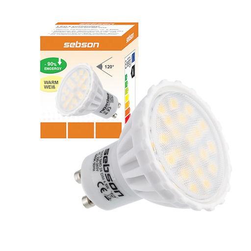 dimmbar gu10 24 smd led warmwei schutzglas lampe leuchtmittel dim ebay. Black Bedroom Furniture Sets. Home Design Ideas