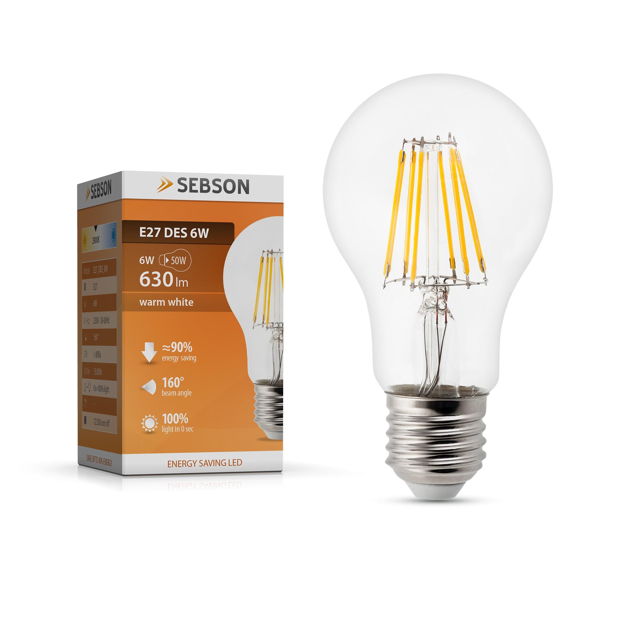 LED Fadenlampe E27 DES 6W