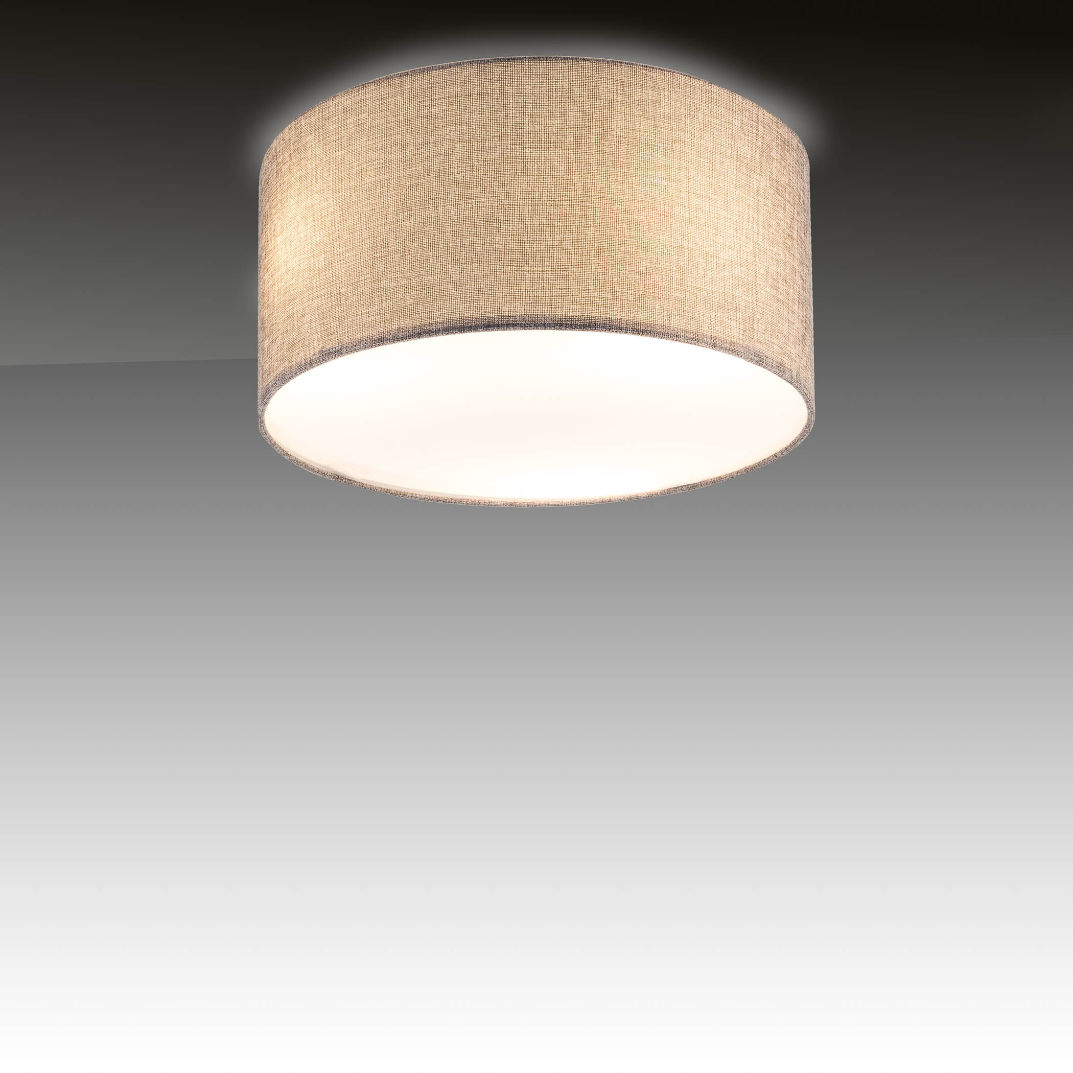 Deckenlampe grau stoff textil led lampe e w